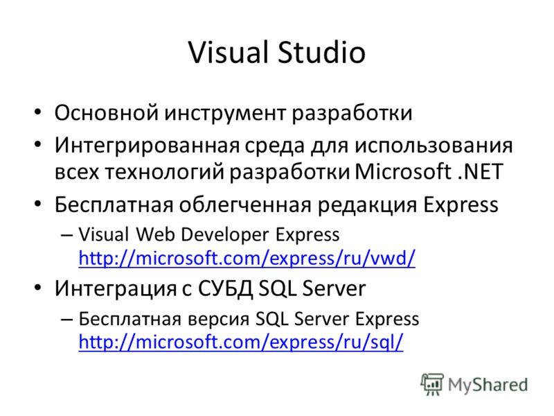 Visual Studio Основной инструмент разработки Интегрированная среда для использования всех технологий разработки Microsoft.NET Бесплатная облегченная редакция Express – Visual Web Developer Express http://microsoft.com/express/ru/vwd/ http://microsoft