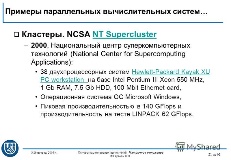 Н.Новгород, 2005 г. Основы параллельных вычислений: Матричное умножение © Гергель В.П. 21 из 61 Кластеры. NCSA NT SuperclusterNT Supercluster –2000, Национальный центр суперкомпьютерных технологий (National Center for Supercomputing Applications): 38