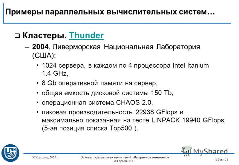 Н.Новгород, 2005 г. Основы параллельных вычислений: Матричное умножение © Гергель В.П. 22 из 61 Кластеры. ThunderThunder –2004, Ливерморская Национальная Лаборатория (США): 1024 сервера, в каждом по 4 процессора Intel Itanium 1.4 GHz, 8 Gb оперативно