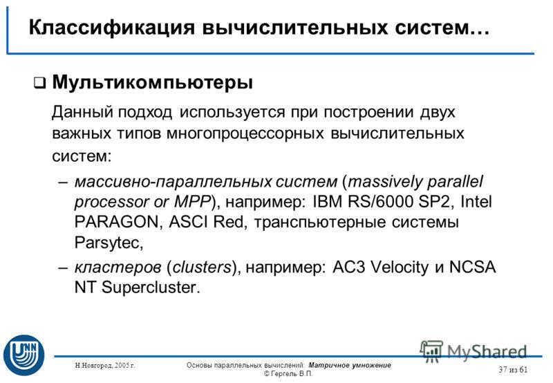 Н.Новгород, 2005 г. Основы параллельных вычислений: Матричное умножение © Гергель В.П. 37 из 61 Мультикомпьютеры Данный подход используется при построении двух важных типов многопроцессорных вычислительных систем: –массивно-параллельных систем (massi
