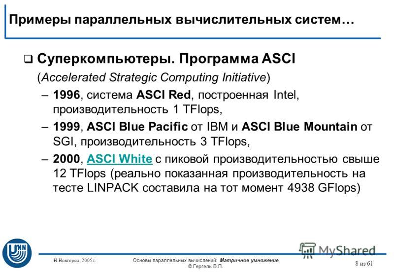 Н.Новгород, 2005 г. Основы параллельных вычислений: Матричное умножение © Гергель В.П. 8 из 61 Суперкомпьютеры. Программа ASCI (Accelerated Strategic Computing Initiative) –1996, система ASCI Red, построенная Intel, производительность 1 TFlops, –1999