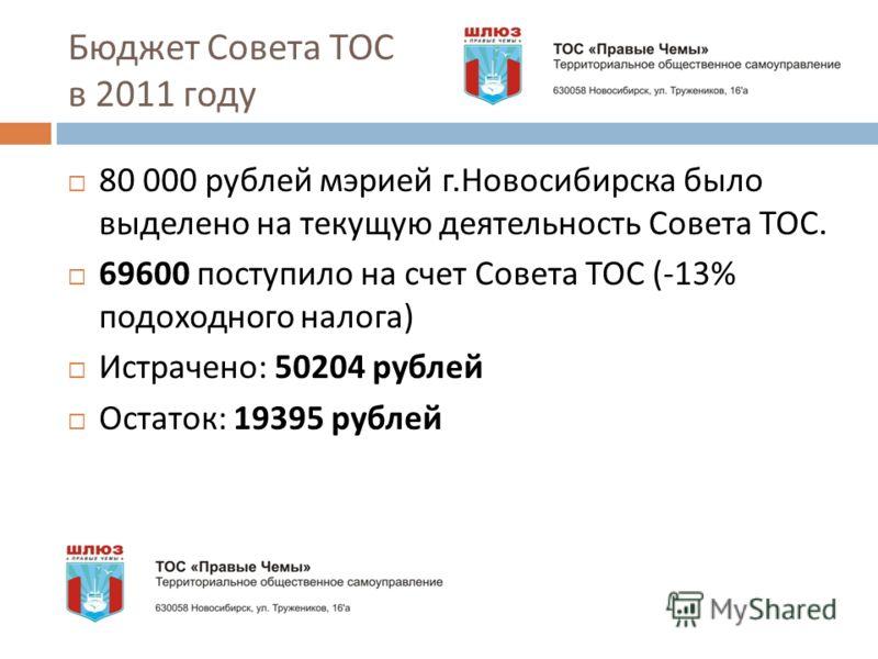 Бюджет Совета ТОС в 2011 году 80 000 рублей мэрией г. Новосибирска было выделено на текущую деятельность Совета ТОС. 69600 поступило на счет Совета ТОС (-13% подоходного налога ) Истрачено : 50204 рублей Остаток : 19395 рублей