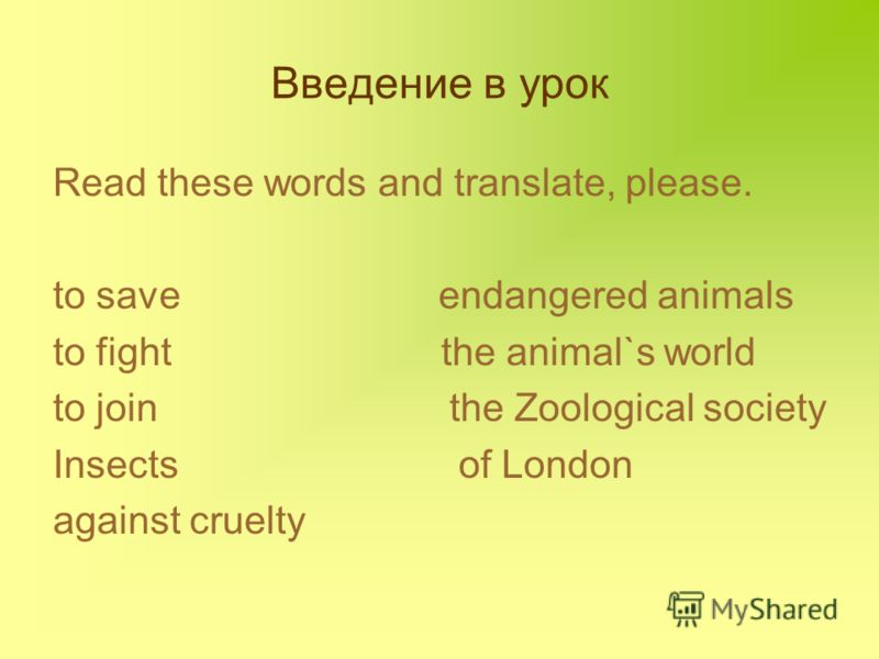 Введение в урок Read these words and translate, please. to save endangered animals to fight the animal`s world to join the Zoological society Insects of London against cruelty