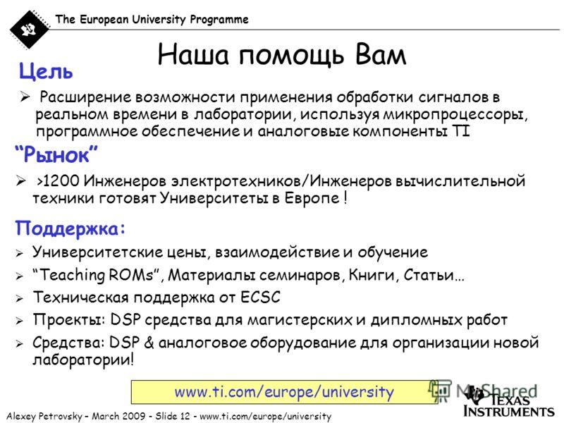 Alexey Petrovsky – March 2009 - Slide 12 - www.ti.com/europe/university The European University Programme Наша помощь Вам Цель Расширение возможности применения обработки сигналов в реальном времени в лаборатории, используя микропроцессоры, программн
