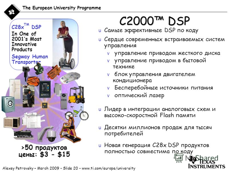 Alexey Petrovsky – March 2009 - Slide 20 - www.ti.com/europe/university The European University Programme C2000 DSP u Сердце современных встраиваемых систем управления v управление приводом жесткого диска v управление приводом в бытовой технике v бло