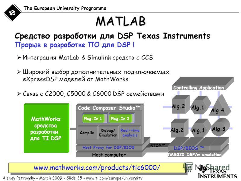 Alexey Petrovsky – March 2009 - Slide 35 - www.ti.com/europe/university The European University Programme Интеграция MatLab & Simulink средств с CCS Широкий выбор дополнительных подключаемых eXpressDSP моделей от MathWorks Связь с C2000, C5000 & C600