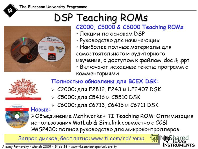 Alexey Petrovsky – March 2009 - Slide 36 - www.ti.com/europe/university The European University Programme DSP Teaching ROMs Полностью обновлены для ВСЕХ DSK: C2000: для F2812, F243 и LF2407 DSK C5000: для C5416 и C5510 DSK C6000: для C6713, C6416 и C