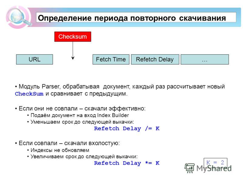 Определение периода повторного скачивания Модуль Parser, обрабатывая документ, каждый раз рассчитывает новый CheckSum и сравнивает с предыдущим. Если они не совпали – скачали эффективно: Подаём документ на вход Index Builder Уменьшаем срок до следующ