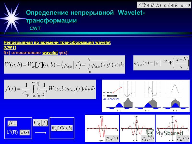 Определение непрерывной Wavelet- трансформации CWT Непрерывная во времени трансформация wavelet (CWT) f(x) относительно wavelet (x): L 2 (R)