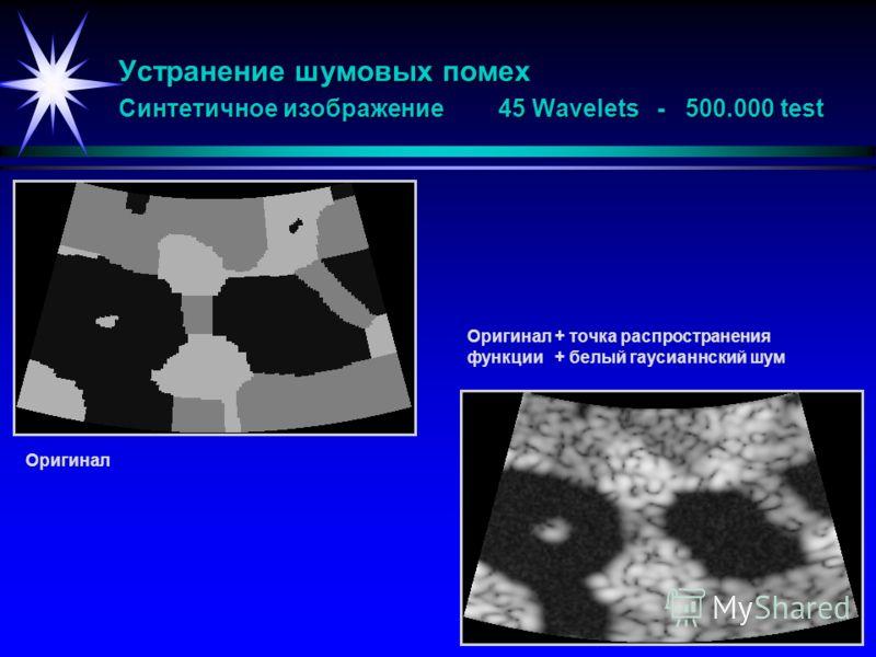 Устранение шумовых помех Синтетичное изображение 45 Wavelets - 500.000 test Оригинал Oригинал+ точка распространения функции+ белый гаусианнский шум