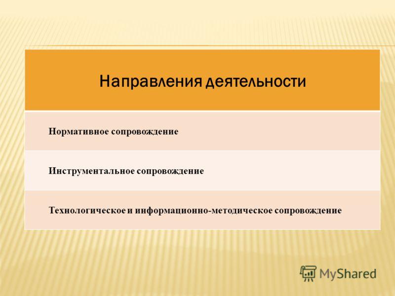 Направления деятельности Нормативное сопровождение Инструментальное сопровождение Технологическое и информационно-методическое сопровождение