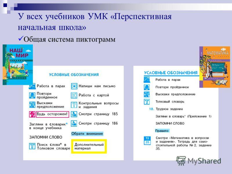 Общая система пиктограмм У всех учебников УМК «Перспективная начальная школа»