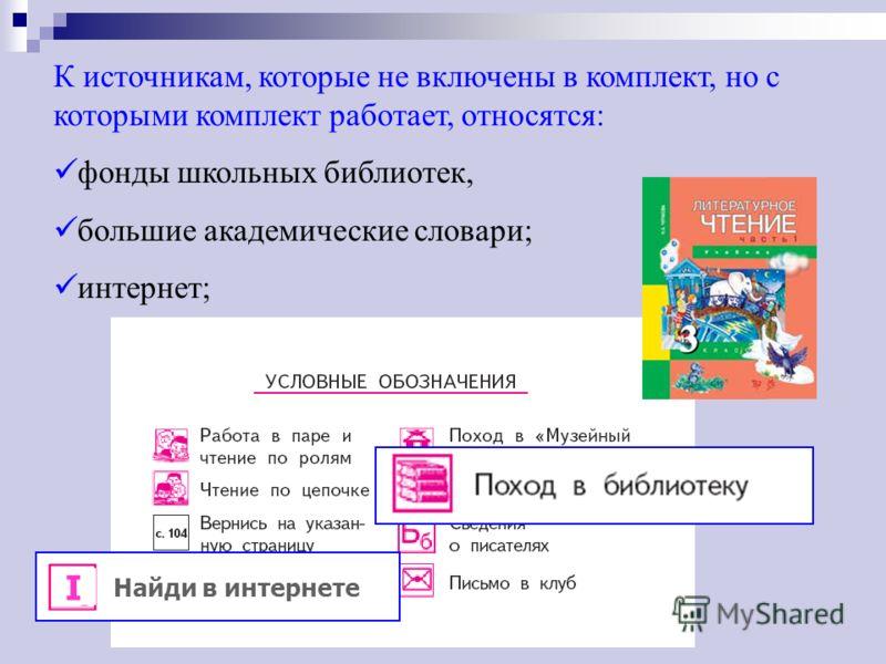 К источникам, которые не включены в комплект, но с которыми комплект работает, относятся: фонды школьных библиотек, большие академические словари; интернет; Найди в интернете I