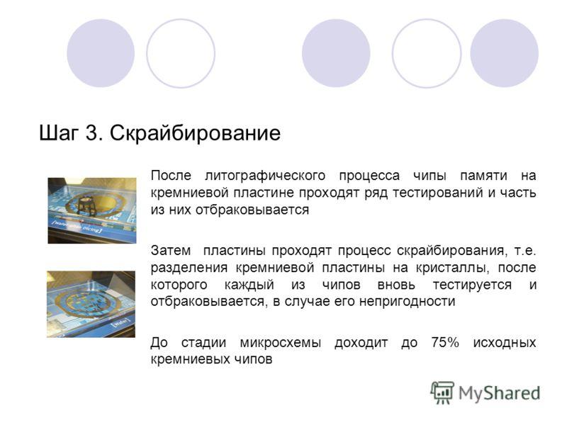 После литографического процесса чипы памяти на кремниевой пластине проходят ряд тестирований и часть из них отбраковывается Затем пластины проходят процесс скрайбирования, т.е. разделения кремниевой пластины на кристаллы, после которого каждый из чип