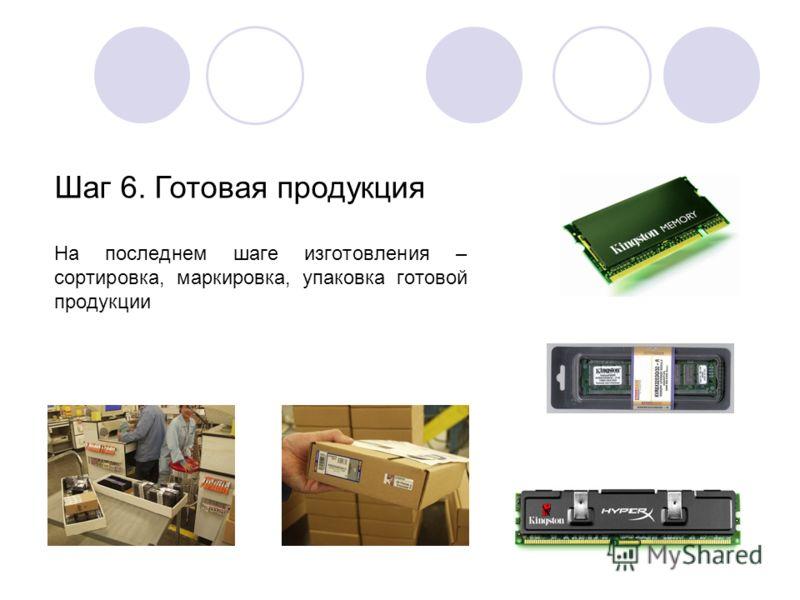 На последнем шаге изготовления – сортировка, маркировка, упаковка готовой продукции Шаг 6. Готовая продукция