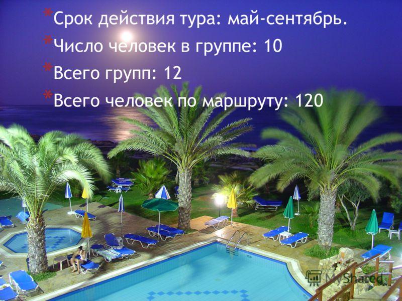 * Срок действия тура: май-сентябрь. * Число человек в группе: 10 * Всего групп: 12 * Всего человек по маршруту: 120