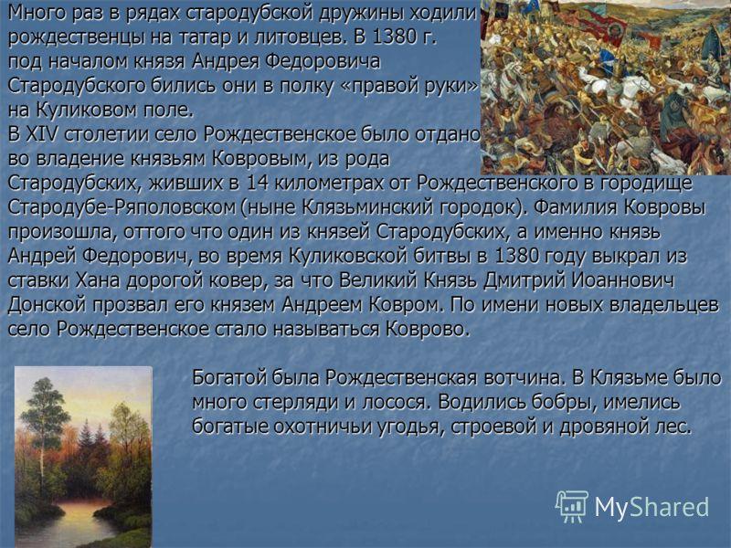 Много раз в рядах стародубской дружины ходили рождественцы на татар и литовцев. В 1380 г. под началом князя Андрея Федоровича Стародубского бились они в полку «правой руки» на Куликовом поле. В XIV столетии село Рождественское было отдано во владение