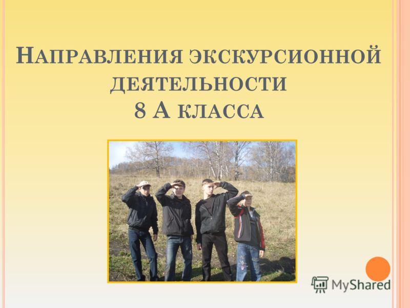 Н АПРАВЛЕНИЯ ЭКСКУРСИОННОЙ ДЕЯТЕЛЬНОСТИ 8 А КЛАССА