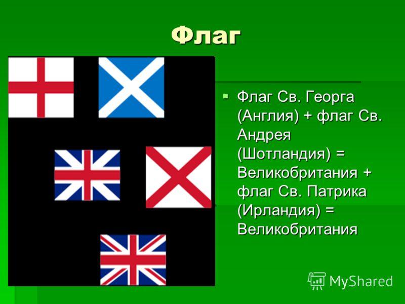 Флаг Флаг Св. Георга (Англия) + флаг Св. Андрея (Шотландия) = Великобритания + флаг Св. Патрика (Ирландия) = Великобритания Флаг Св. Георга (Англия) + флаг Св. Андрея (Шотландия) = Великобритания + флаг Св. Патрика (Ирландия) = Великобритания