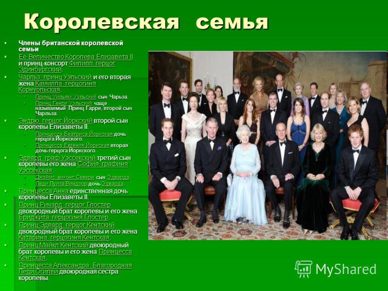 Королевская семья Члены британской королевской семьи Члены британской королевской семьи Её Величество Королева Елизавета II и принц-консорт Филипп, герцог Эдинбургский. Её Величество Королева Елизавета II и принц-консорт Филипп, герцог Эдинбургский.