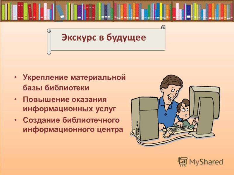 Экскурс в будущее Укрепление материальной базы библиотеки Повышение оказания информационных услуг Создание библиотечного информационного центра