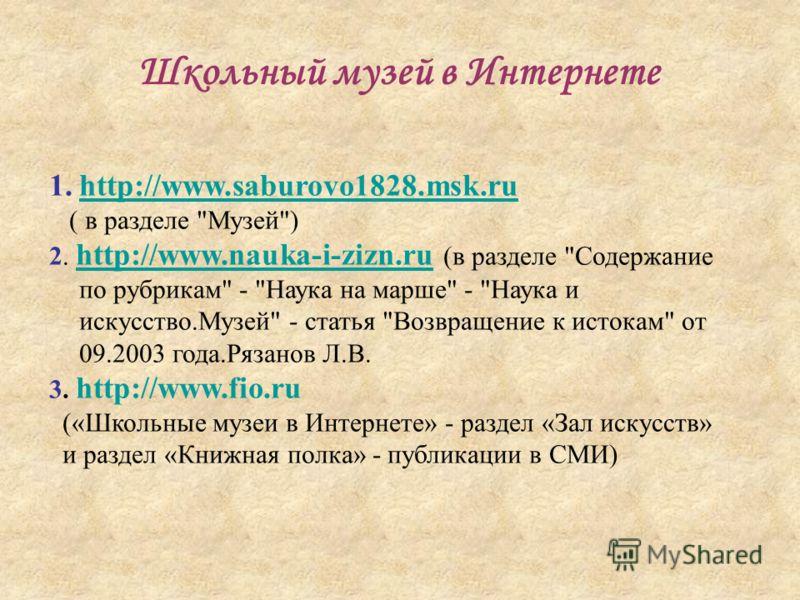 Школьный музей в Интернете 1.http://www.saburovo1828.msk.ruhttp://www.saburovo1828.msk.ru ( в разделе