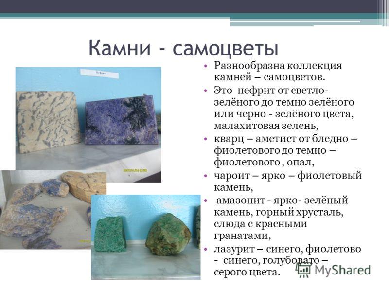 Камни - самоцветы Разнообразна коллекция камней – самоцветов. Это нефрит от светло- зелёного до темно зелёного или черно - зелёного цвета, малахитовая зелень, кварц – аметист от бледно – фиолетового до темно – фиолетового, опал, чароит – ярко – фиоле