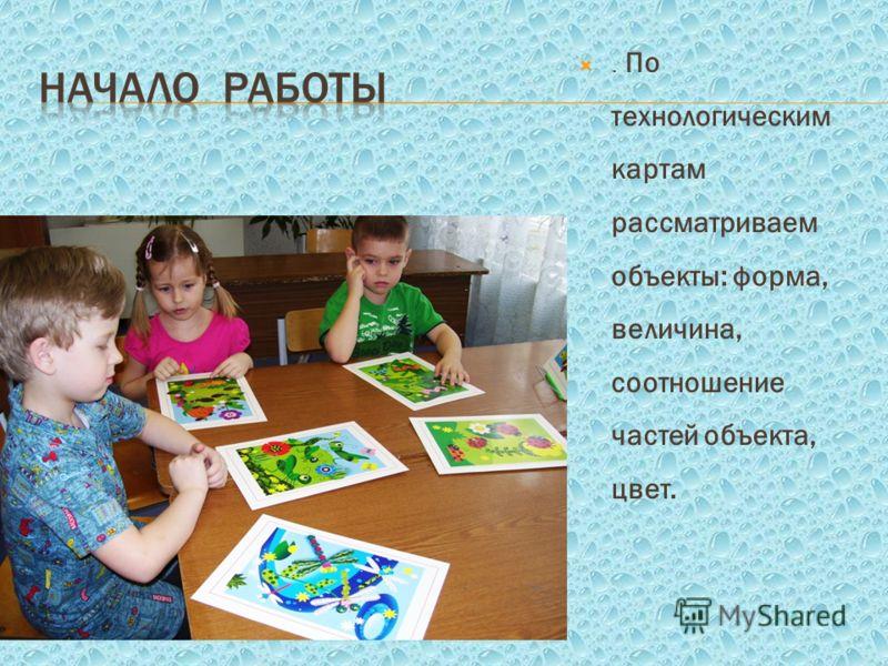 . По технологическим картам рассматриваем объекты: форма, величина, соотношение частей объекта, цвет.
