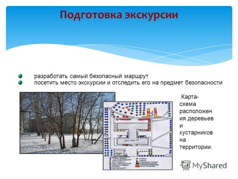 Подготовка экскурсии разработать самый безопасный маршрут посетить место экскурсии и отследить его на предмет безопасности Карта- схема расположен ия деревьев и кустарников на территории.