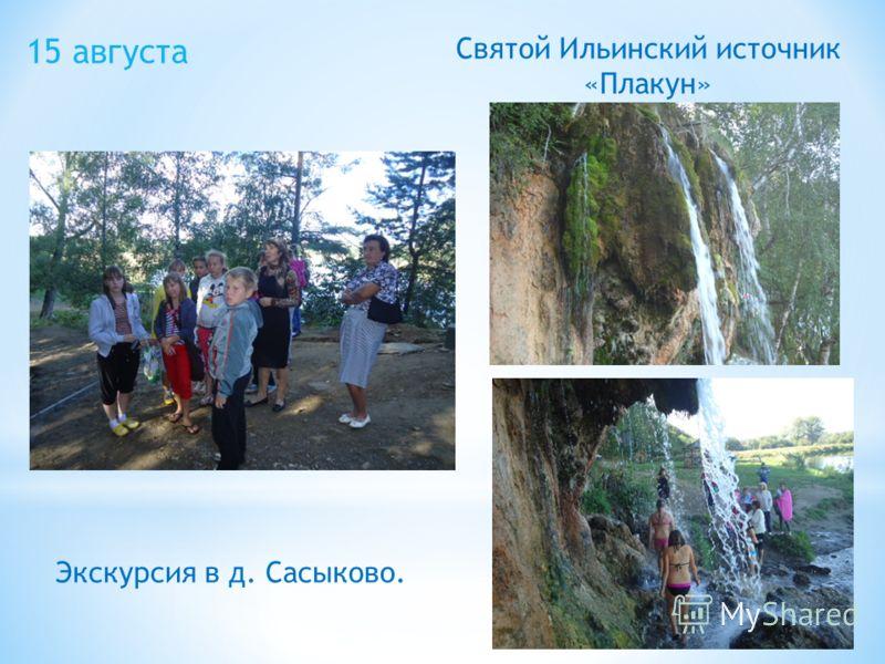 15 августа Экскурсия в д. Сасыково. Святой Ильинский источник «Плакун»