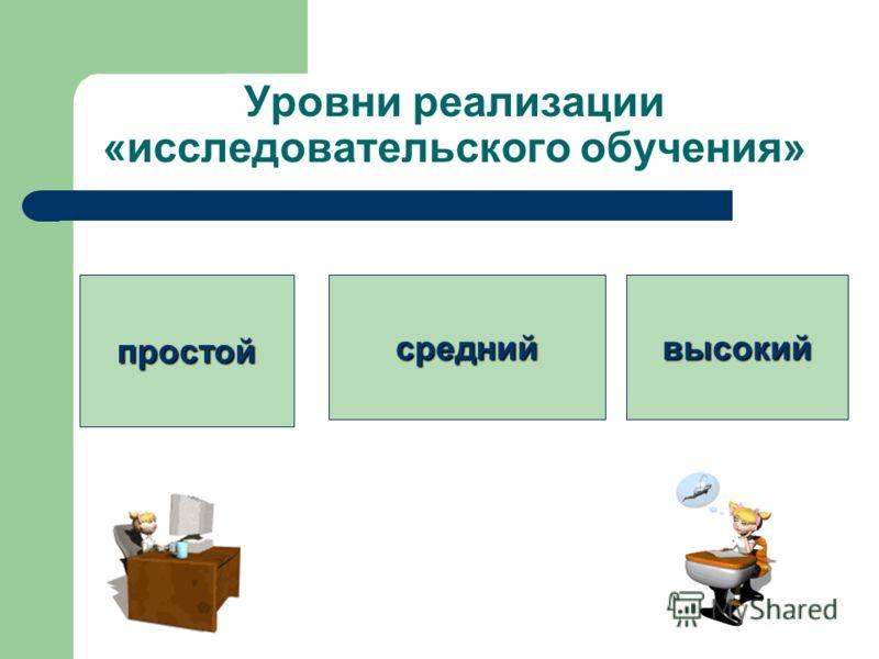 Уровни реализации «исследовательского обучения» простойсреднийвысокий
