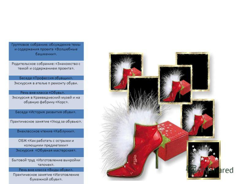 Групповое собрание: обсуждение темы и содержания проекта «Волшебные башмачки». Родительское собрание: «Знакомство с темой и содержанием проекта». Беседа «Профессия обувщик». Экскурсия в ателье п ремонту обуви. Речь вне класса «Обувь». Экскурсия в Кра