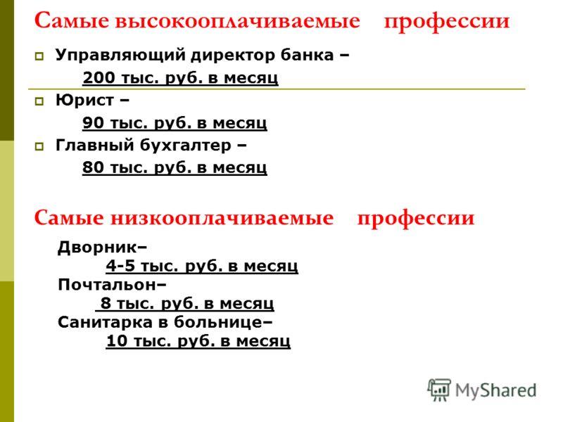 Самые высокооплачиваемые профессии Управляющий директор банка – 200 тыс. руб. в месяц Юрист – 90 тыс. руб. в месяц Главный бухгалтер – 80 тыс. руб. в месяц Самые низкооплачиваемые профессии Дворник– 4-5 тыс. руб. в месяц Почтальон– 8 тыс. руб. в меся