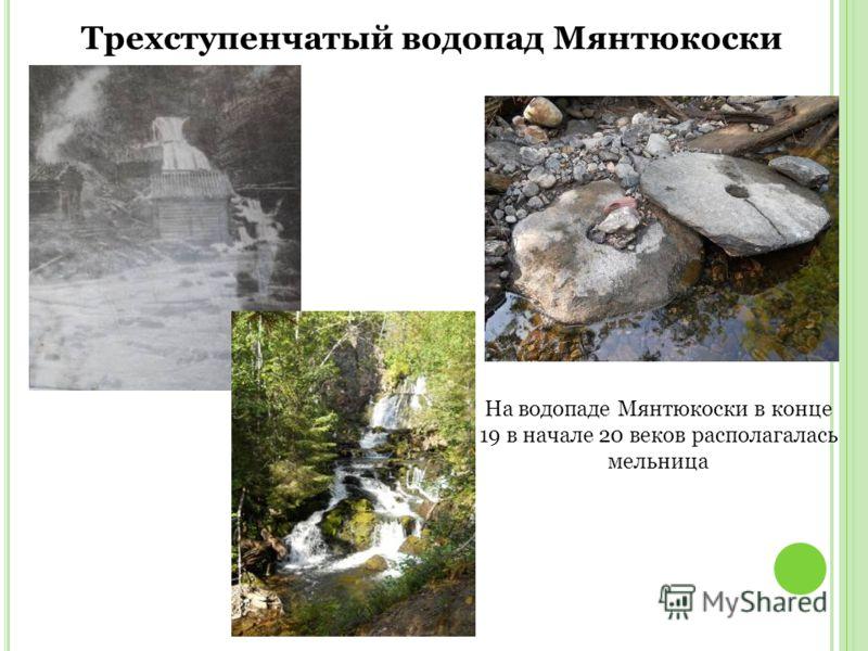 Трехступенчатый водопад Мянтюкоски На водопаде Мянтюкоски в конце 19 в начале 20 веков располагалась мельница