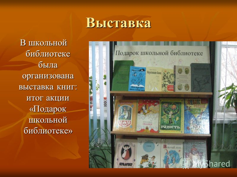 Выставка В школьной библиотеке была организована выставка книг: итог акции «Подарок школьной библиотеке»