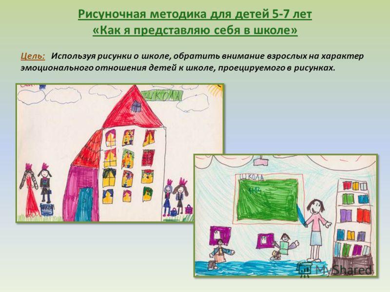 Рисуночная методика для детей 5-7 лет «Как я представляю себя в школе» Цель: Используя рисунки о школе, обратить внимание взрослых на характер эмоционального отношения детей к школе, проецируемого в рисунках.