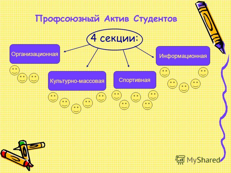 4 секции: Организационная Культурно-массовая Спортивная Информационная