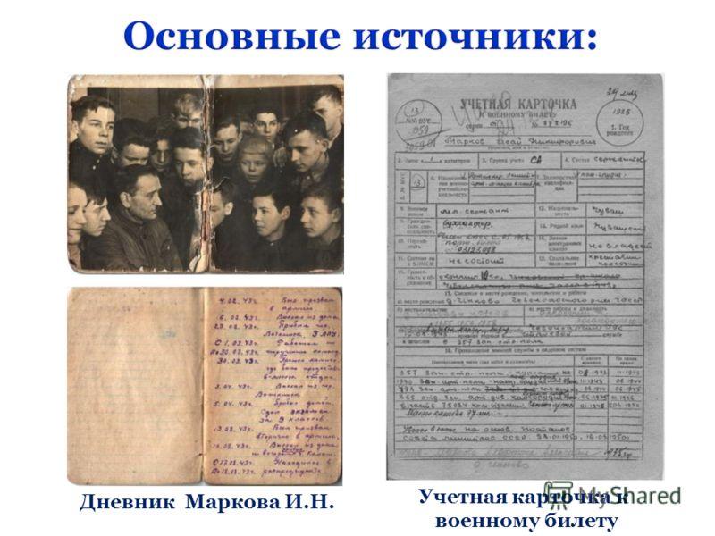 Дневник Маркова И.Н. Учетная карточка к военному билету
