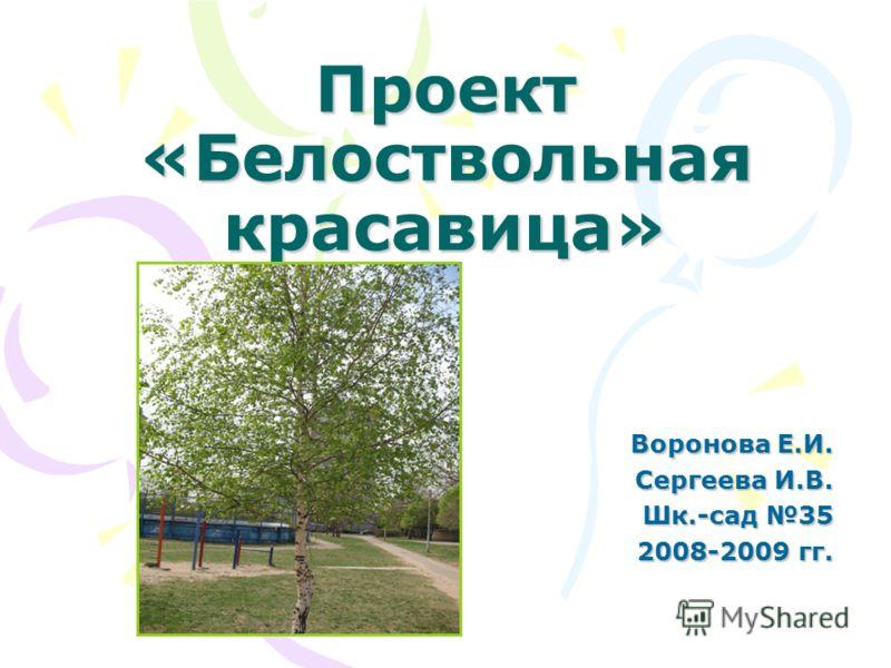 Проект «Белоствольная красавица» Воронова Е.И. Сергеева И.В. Шк.-сад 35 2008-2009 гг.