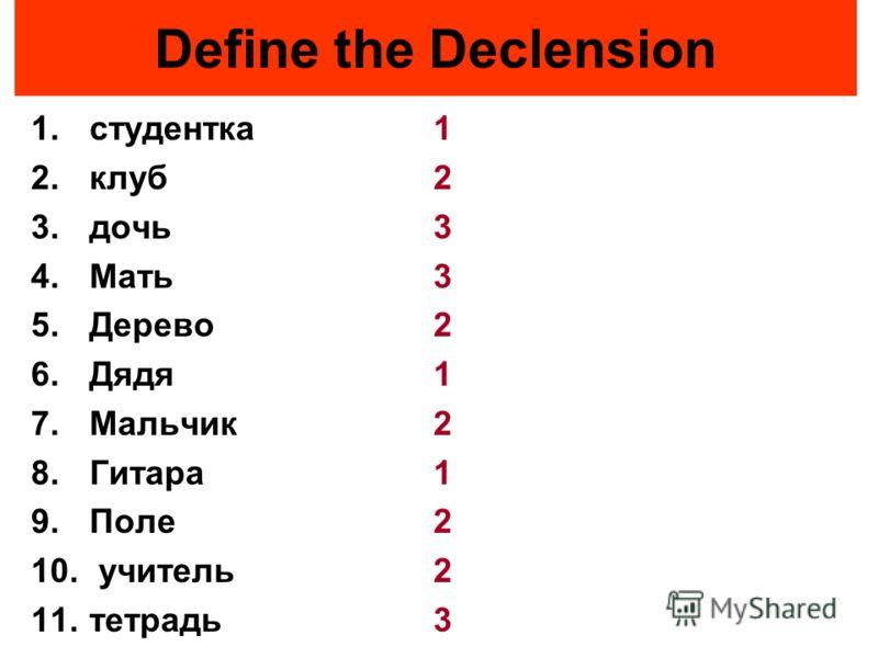 Define the Declension 1.студентка 2.клуб 3.дочь 4.Мать 5.Дерево 6.Дядя 7.Мальчик 8.Гитара 9.Поле 10. учитель 11.тетрадь 1 2 3 3 2 1 2 1 2 2 3