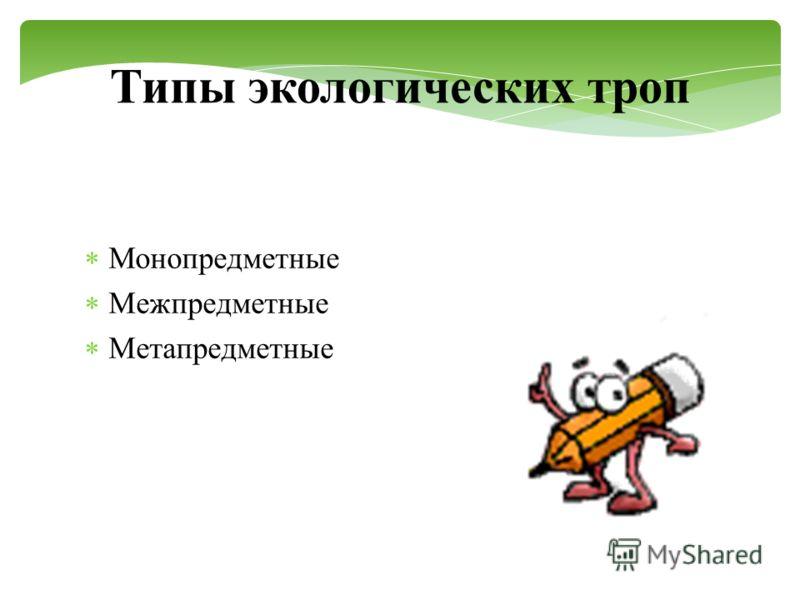 Типы экологических троп Монопредметные Межпредметные Метапредметные