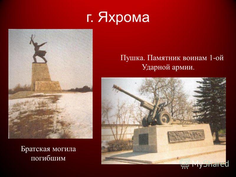 Пушка. Памятник воинам 1-ой Ударной армии. г. Яхрома Братская могила погибшим