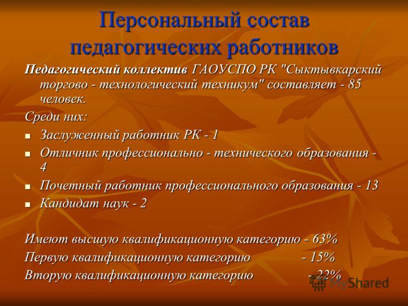 Персональный состав педагогических работников Педагогический коллектив ГАОУСПО РК