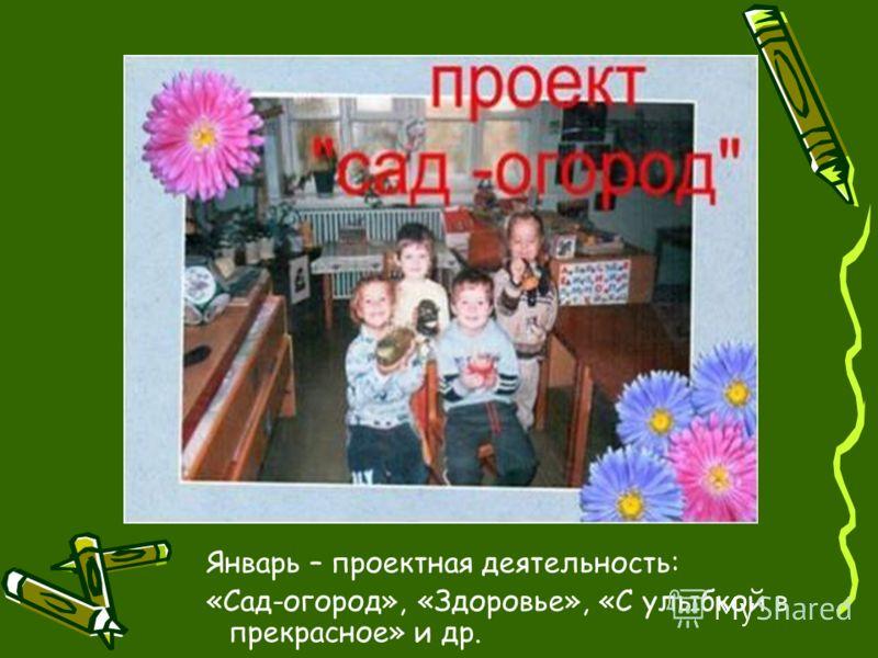 Январь – проектная деятельность: «Сад-огород», «Здоровье», «С улыбкой в прекрасное» и др.