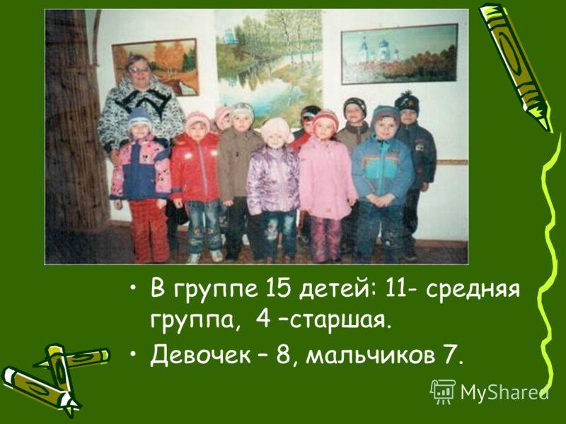 В группе 15 детей: 11- средняя группа, 4 –старшая. Девочек – 8, мальчиков 7.