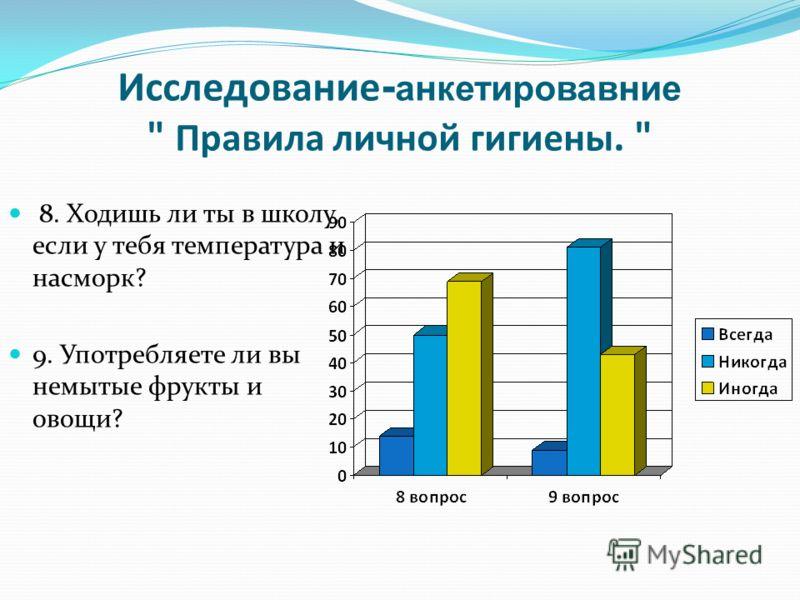 Исследование - анкетировавние  Правила личной гигиены.  8. Ходишь ли ты в школу, если у тебя температура и насморк? 9. Употребляете ли вы немытые фрукты и овощи?