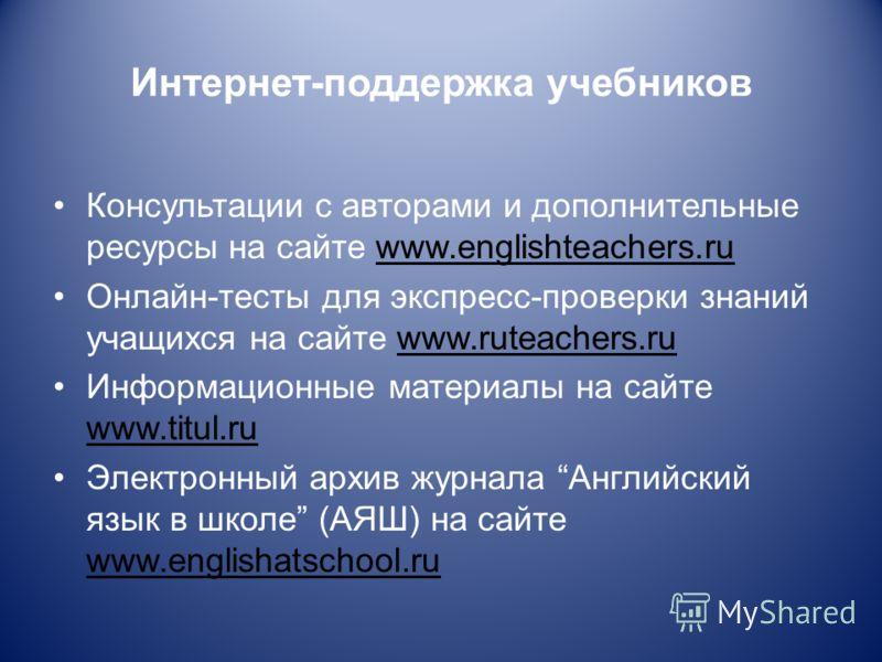 Интернет-поддержка учебников Консультации с авторами и дополнительные ресурсы на сайте www.englishteachers.ru Онлайн-тесты для экспресс-проверки знаний учащихся на сайте www.ruteachers.ru Информационные материалы на сайте www.titul.ru Электронный арх