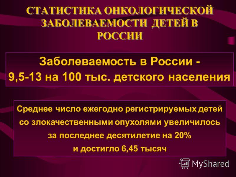 СТАТИСТИКА ОНКОЛОГИЧЕСКОЙ ЗАБОЛЕВАЕМОСТИ ДЕТЕЙ В РОССИИ Заболеваемость в России - 9,5-13 на 100 тыс. детского населения Среднее число ежегодно регистрируемых детей со злокачественными опухолями увеличилось за последнее десятилетие на 20% и достигло 6