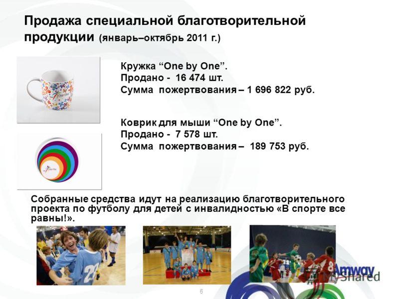 6 Продажа специальной благотворительной продукции (январь–октябрь 2011 г.) Кружка One by One. Продано - 16 474 шт. Сумма пожертвования – 1 696 822 руб. Коврик для мыши One by One. Продано - 7 578 шт. Сумма пожертвования – 189 753 руб. Собранные средс