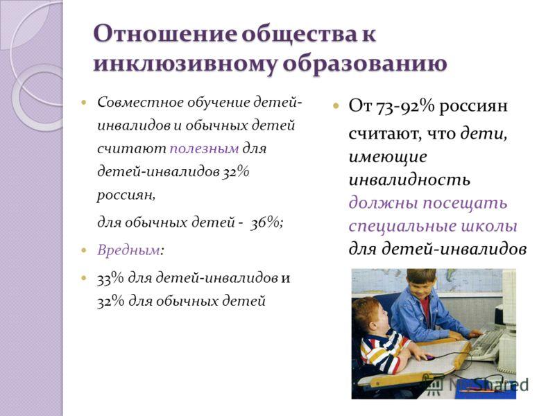 Отношение общества к инклюзивному образованию От 73-92% россиян считают, что дети, имеющие инвалидность должны посещать специальные школы для детей-инвалидов Совместное обучение детей- инвалидов и обычных детей считают полезным для детей-инвалидов 32